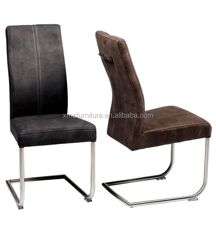 Stainless Steel Frame Dining Chair Covers Brown Color Faux Leather with Handle