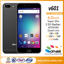 V601 OEM Cheap 6 inch android quad core mobile phone 3G MTK6580 quad core 6 inch smartphone