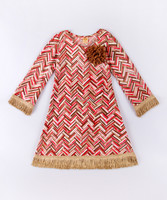 New Design Girl Casual Dresses With Taupe And Pink Chevron Rosette Swing Girl Fall Dress Girls Clothes Z-GD80729-27