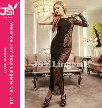 Adult Shop New Arrival Adult Women Girls Sexy Bodycone Long Dress Undewear Clubwear Babydoll Nighty Lingerie #9971 Lace Satin