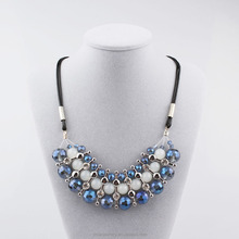 Handmade Bib Necklace Fashion Bule Crystal Glass Bead Necklace