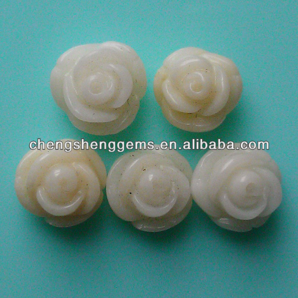 10mm natura half drill rose/flower shape white coral beads for wholesale