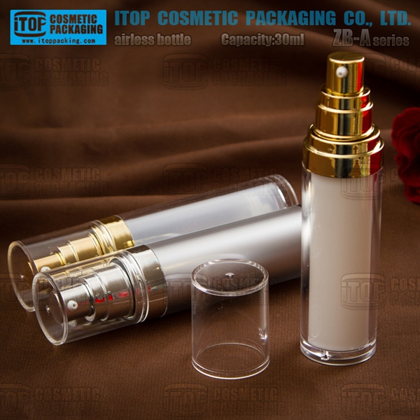 ZB-A series cylindrical type 30ml plastic lotion packaging bottle airless pump bottle frosted 15ml