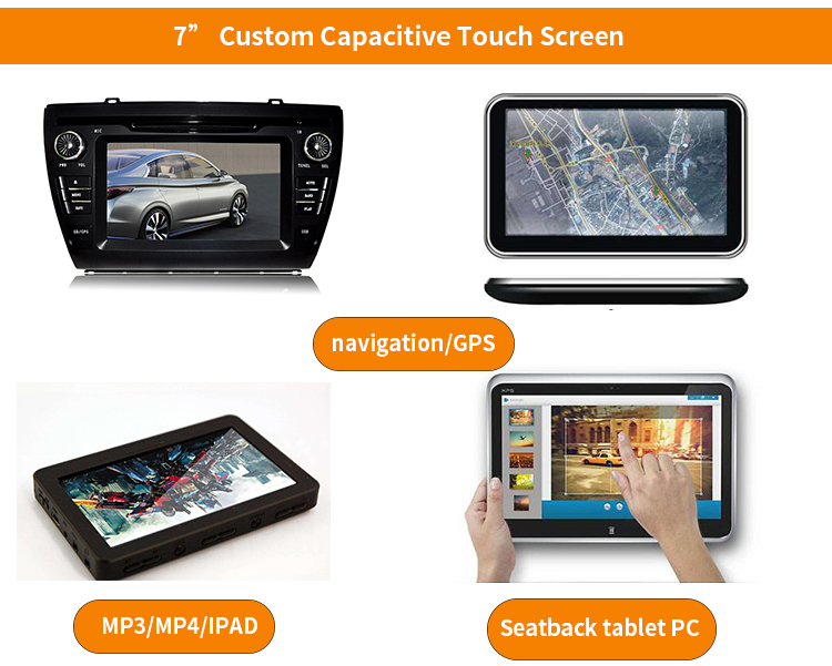 "Automotive MP3 / MP4/ GPS Use Multi Points Touch 7"" Capacitive Touch Screen Factory Custom"
