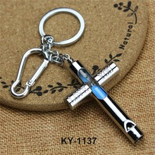 Popular Design Fancy Souvenir Metal Cross Hourglass Whistle Keychain