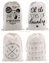 Environment friendly recycled custom printed heavy duty natural cotton canvas laundry drawstring bags storage bag