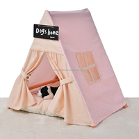 Outdoor wooden dog house fabric dog house