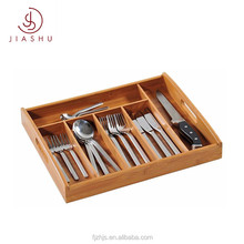 Drawer Organizer 6 Compartments Adjustable Dimensions Bamboo cutlery tray
