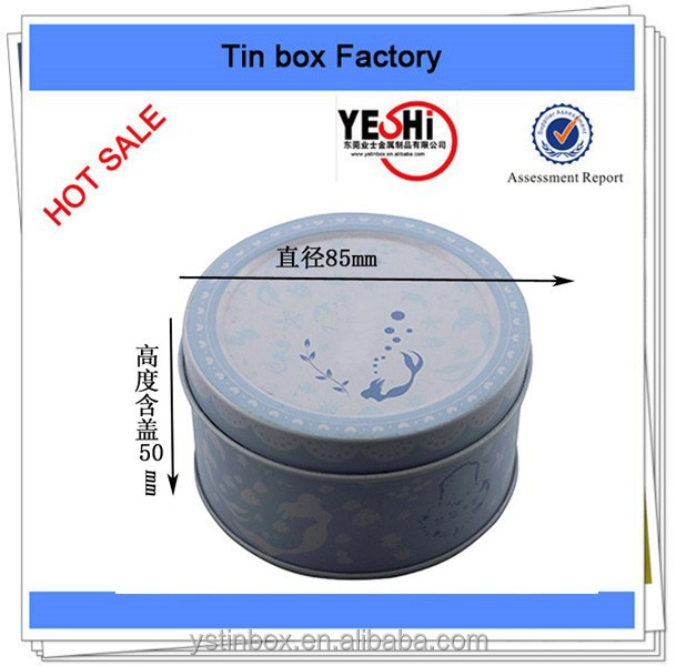 Small metal round candy tin box for packing