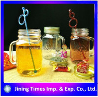 Colourful clear glass juice bottle with handle, Colored mason jars with handle,16oz mason jars with lids and straws