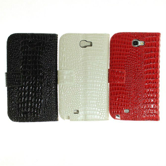 stylish croco leather credit card slot wallet stand cover case for samsung galaxy note 2 II N7100