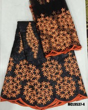 100% cotton Bazin riche fabric embroidered net lace with 3d flower african blouse set