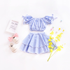 YY10463G European and American style new summer plaid desig children girls two piece crop top and skirt set