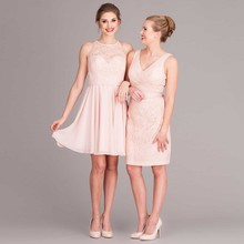 BD43 Puffy High Quality Girl Party Dresses for Maid of Honor Knee Length Chiffon and Lace Short China Bridesmaid Dresses
