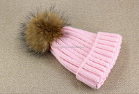 Hot Sale Real Raccoon Fur Pom Pom Knitted Beanie Hat Wholesale And Retail
