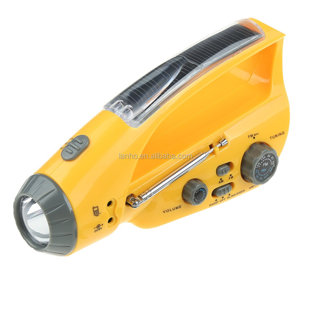 Solar Hand Crank AM/FM Radio Hand-winding Charger Flashlight / Torch Flash Aarm Cell / Mobile Phone Charger w/ USB Cable