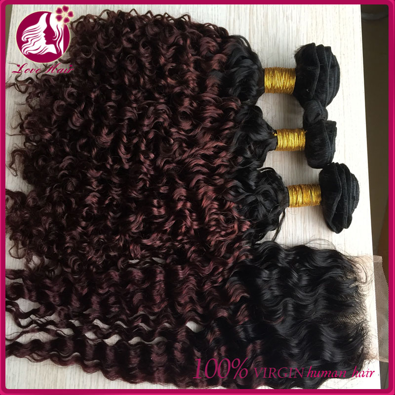 Large of stock colored two tone expression hair braids virgin chinese hair with closure