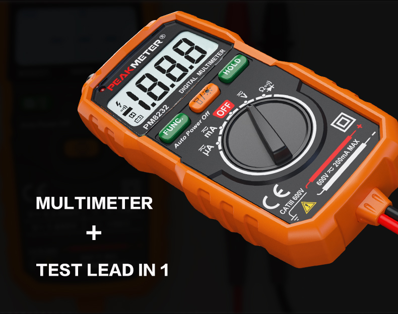 PEAKMETER Non Contact Voltage Detection Pocket Size Automotive Digital Multimetro