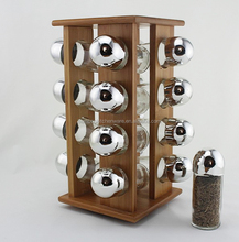 Square rotatable bamboo spice rack with 16pcs jars