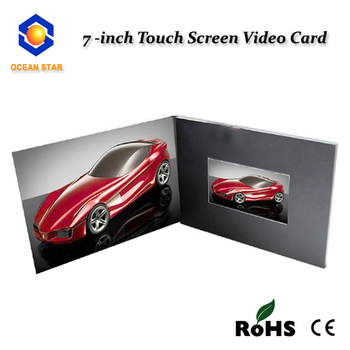 "7"" Inch LCD Customized Car Advertising Video Brochure Video Card for Promotion"