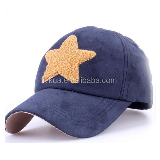 Fashion Quality Suede Snapback Baseball Cap with Star for Women Men