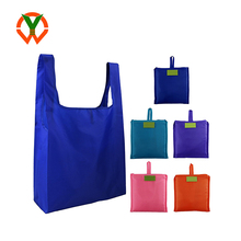 Promotional Custom Logo Grocery Reusable Tote Polyester Foldable Shopping Bag