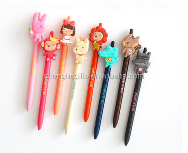 Cartoon creative cartoon stationery office stationery/Promotional cute ball pen/custom make plastic rubber gel pen