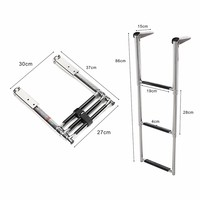 2017 Hot selling Polished SS ladder 3 Step Stainless Steel Telescoping Boat Ladder