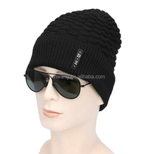 Customized Solid Black Color Men Beanie Knitted Warm Caps Fleece Lining Hat For Winter