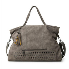 Fashion Suede Leather Tassel Rivet Shoulder Bag In Stock