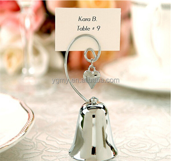wedding favor and decoration--Charming Chrome Bell Place name Card/Photo Holder with Dangling Heart Charm party favor
