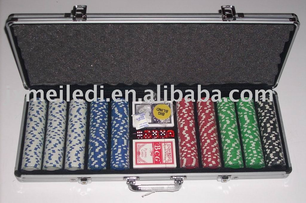 500pcs aluminum poker chip set case