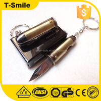 Pocket electroplate bullet folding knife with ring