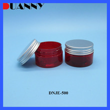 30g 40g 50g 60g 80g 100g 120g 150g 200g 250g 300g 400g 500g Red Clear Plastic PET Cosmetic Jar With Silver Aluminum Cap