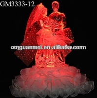 Wholesale LED musical crystal bride and groom gift