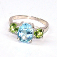 Sterling Silver ring Latest Design Diamond With Blue Topaz Gemstone Ring