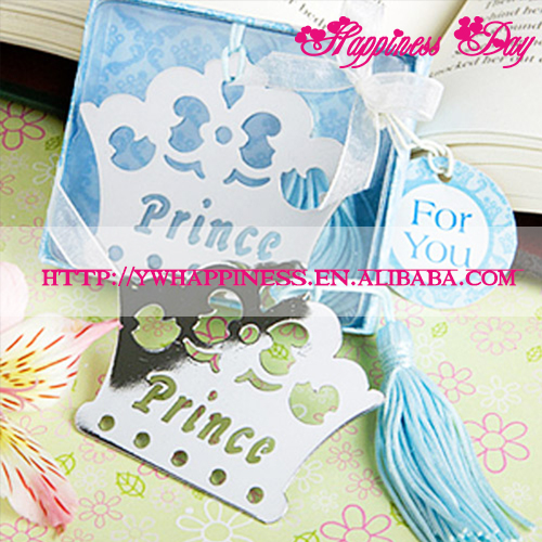 Prince Crown Metal Bookmark in Blue Gift Box Wedding Party Favor Birthday Souvenirs Gifts