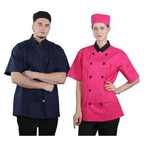 Custom summer Short sleeve double-breasted chef uniform unisex Hotel bar chef uniform