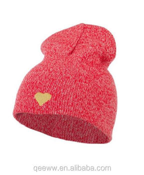 Yhao windproof heart embroidered beanie 100% acrylic knitting winter warm hat