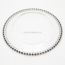 Glass Wholesale 13 inch clear glass charger plates gold / silver beaded rim for dinner