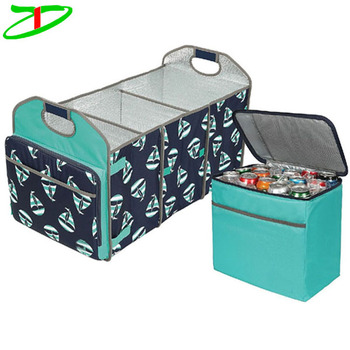 2017 new arrivals travel picnic time large insulated cooler bag car trunk lid organizer