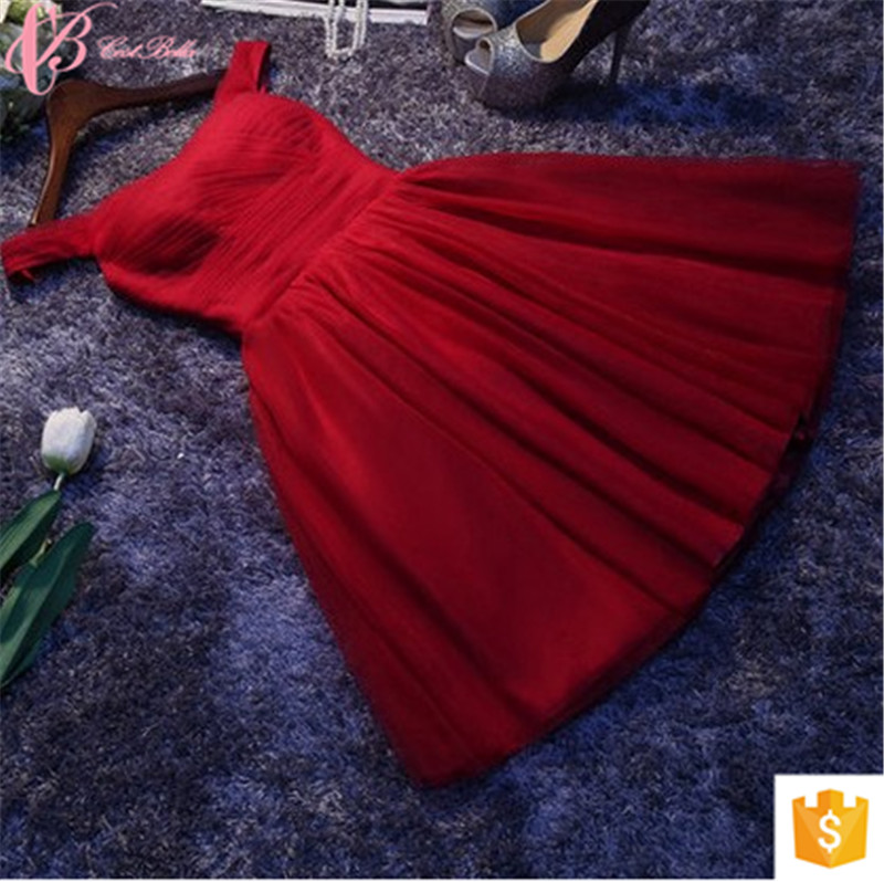Red spaghetti strap high quality chiffon lace appliques pattern knee bridesmaid dress