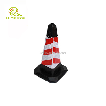 28 Inch Black Base Reflective Tape Rubber Traffic Cone