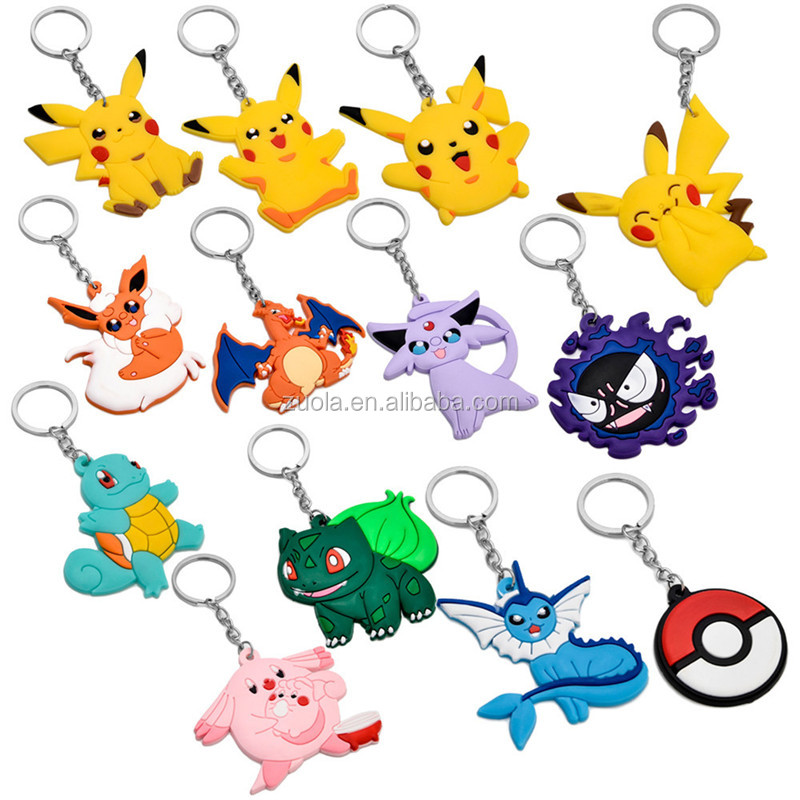 13 types Pokemon PVC Keychain Rubber Key Ring Anime pokemon keyrings Collections