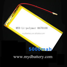 MYD0670100 rechargeable lithium polymer 3.7v 5000mah tablet pc battery