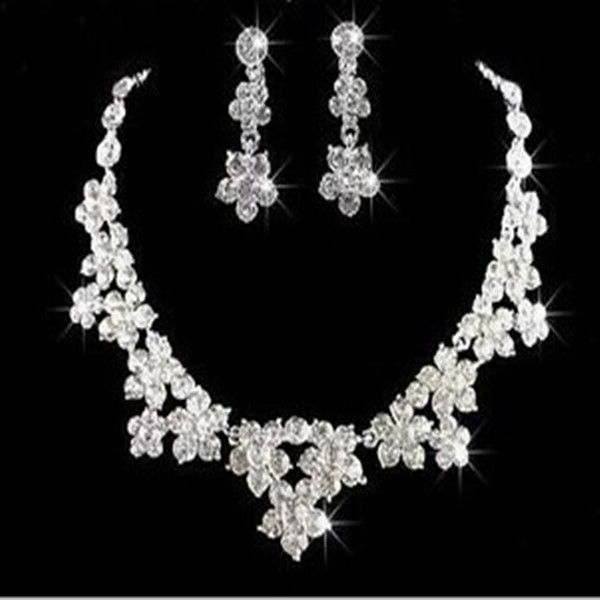 2014 hot sale new design fashion crystal Korean style wholesale wedding jewelry necklace set