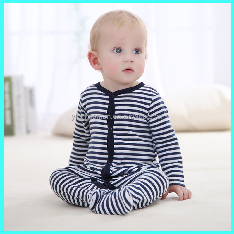 Hot style blue and white stripes infant long sleeve cotton baby boy romper wholesale