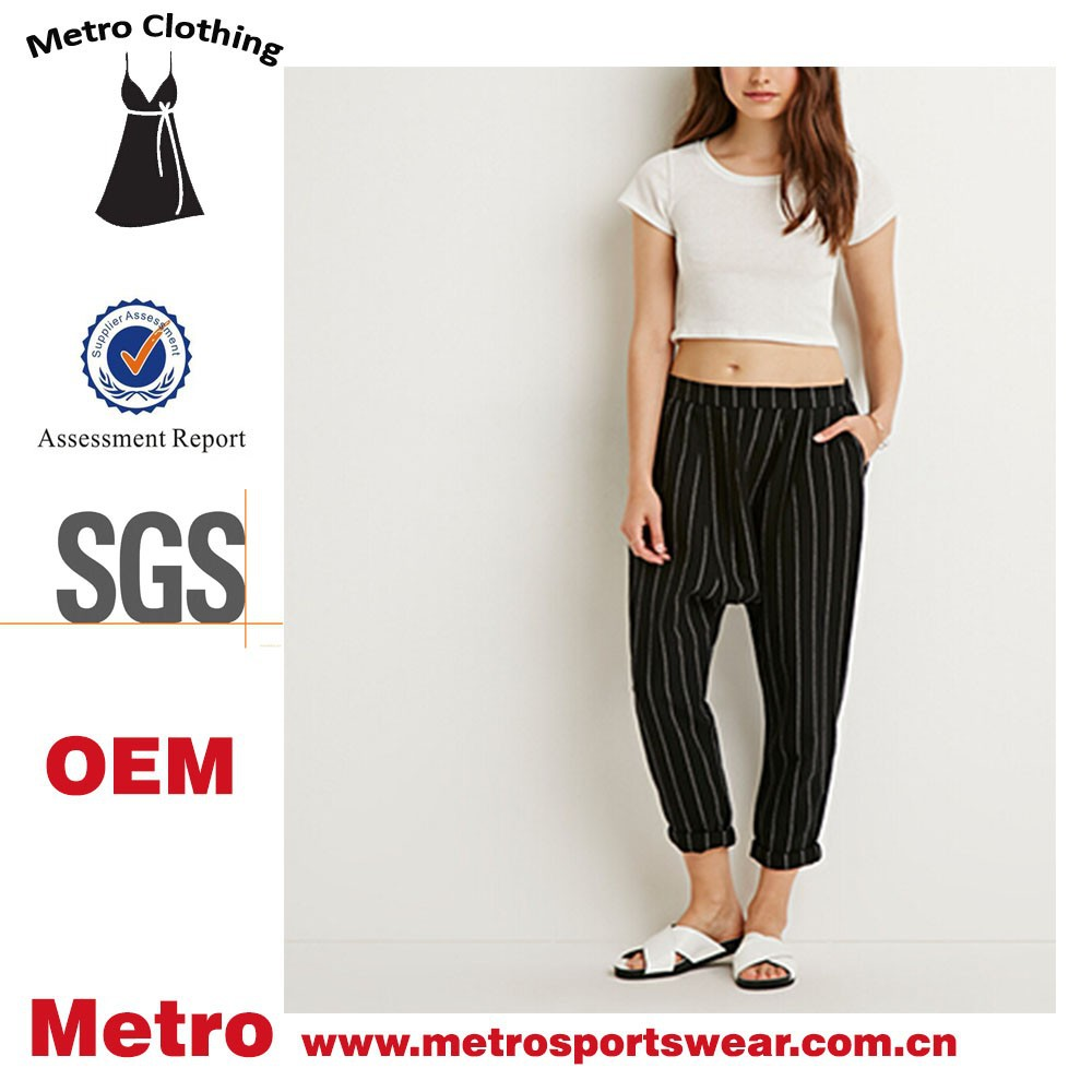 OEM Service Women Casual Style Pinstriped Cotton Harem Pants