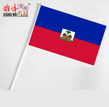 Custom cheap haiti national mini Polyester 20x30cm hand flags