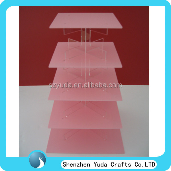 Pink acrylic 5 tier cake display stand wedding cup cake stand plastic cupcake stand